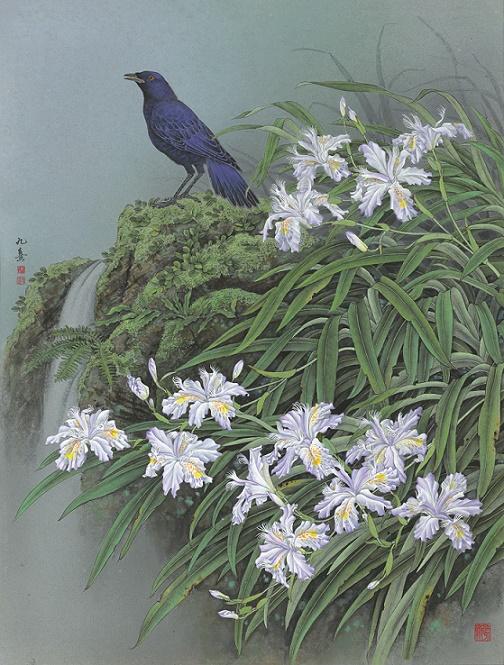 2016.06.20落花溪水香(紫嘯鶇.台灣鳶尾) 85x65cm雲肌麻紙